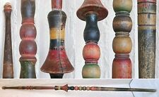 "49"" Antique Ornate wooden hand carved colorful Distaff for Spinning Wool 19thC"