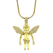 "Mens Gold Tone Cz Angel Big Head Pendant Hip-hop 3mm 30"" Inch Snake Chain A02"