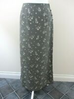 Monsoon maxi skirt size 12 green small cream floral side buttons A-line casual