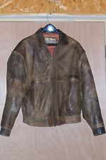 Men's size 40 Distressed Brown Leather Bomber Jacket Coat M Medium USAF A2 A-2