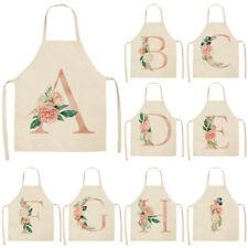 Cotton Linen Flower Letter Printed Aprons  Kitchen Cooking Pinafore Baking Women