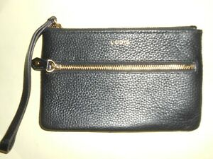LODIS  Black Pebble Leather Wristlet New