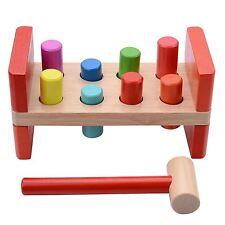 Kids Children Multi Coloured Wooden Activity Hammer Baby Toddler Peg Toy Game