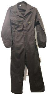 Dark Gray Vintage Coveralls Jumpsuit Mechanic Sz Chest 36 Short Unisex Zipup