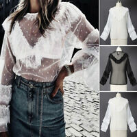 ZANZEA Women Long Sleeve Casual Lace Crochet Shirt Tops Frill Ladies Blouse Plus