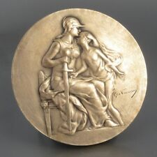Antique French Bronze Medal Bas-Relief, Athena Sports, Signed Vacossin & Erdmann