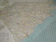 Large National Survey Cloth Backed Map North South Carolina L. V. Crocker