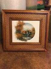 "BEAUTIFUL SIGNED NATHAN  16"" BY 15"" River SCENE OIL PAINTING Wicker Inner Frame"