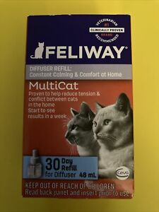 FELIWAY Multicat 30 Day Refill for diffuser 48ml, cat stress relief.