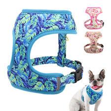 Floral Adjustable Dog Harness Reflective Soft Padded Pet Walking Vest Pink Blue