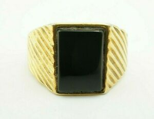 Sterling Silver 925 Gold Tone Black Onyx Textured Men's Ring Size 13