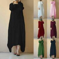 NEW Women Boho Cotton Linen Tunic Long Sleeve Gypsy Shirt Kaftan Maxi Dress