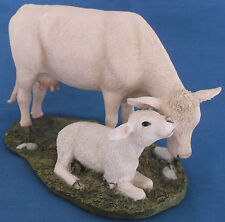 RARE SHERRATT & SIMPSON 57448 CHAROLAIS COW & CALF CATTLE FIGURINE FARM COUNTRY