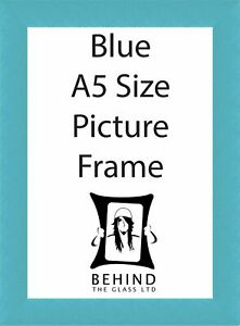 Handmade Blue Wooden Picture Frame with Back Stand - A5 Size by Behind The Glass