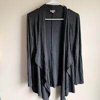 J Jill Gray Draped Waterfall Front Long Sleeve Cardigan Sweater Size Small