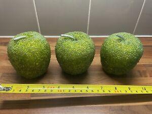 3 Beaded Green Apples Decorative Fake Fruit