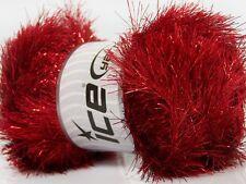 100 Gram Dark Red Eyelash Dazzle Yarn #42265 Ice Metallic Fun Fur 153 yds