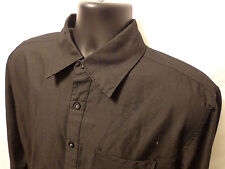 Mens Soverign Code L/S Black Stripe Button Front Shirt sz L 100% Cotton