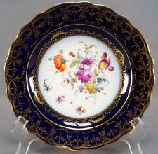 Donath Dresden Cobalt & Gold Hand Painted Floral Dessert Plate Circa 1893 - 1916