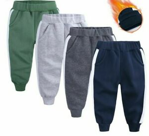 Fleece Trousers For Girl Boys Casual Sport Pants Kids Toddler Baby Autumn Winter