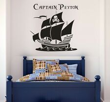 Wall stickers custom name pirate boat kids quote Removable Art Vinyl Decor Home