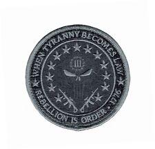 Three 3% Percenter Rebellion Tyranny Punisher Morale ACU Hook Patch (MTT1)