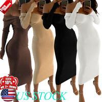 WOMENS OFF SHOULDER V-NECK MAXI SWEATER DRESS LONG SLEEVE CORSET BODYCON DRESSES