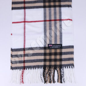Men's 100% CASHMERE Scarf White Big Plaid Stripe Design Soft