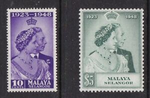 MALAYA SELANGOR 1948 KGVI SILVER WEDDING SET NEVER HINGED MINT