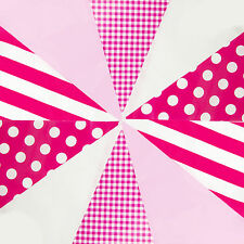 Pink Bunting White Mix Birthday Shower Party Its a Girl 20 Pennant Flags 33ft
