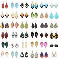 216styles Handmade Leather Hook Earrings Women Boho Jewelry Leaf Teardrop Dangle