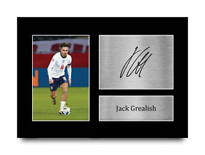 Jack Grealish England Gift Ideas Printed Autograph A4 Picture for Football Fans