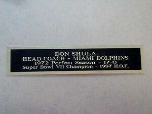Don Shula Dolphins Engraved Nameplate For A Signed Football Jersey Case 1.5 X 6
