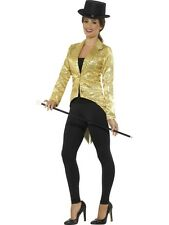 Ladies 1920s Sequin Tailcoat Jacket Cabaret 1930s Womens Fancy Dress Outfit Gold - Small
