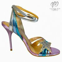 Kurt Geiger Women's Dress Sandals Jool Metallic Pink Strappy Stilletos Size 3 UK