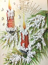 Vtg Xmas Card Amazing Candles Mcm Htf Popcorn Gold Print Atomic Design ~023