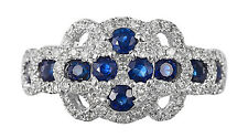 Solid 14K White Gold Blue Sapphire Colored Stone Real Natural Diamond Fancy Ring