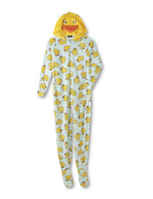 Rubber Duck Footed Pajamas Hooded 1 Piece Costume Pj s Juniors Size M 2521adce9