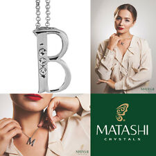 """16"""" Rhodium Plated Necklace w/ """"B"""" Initial & Crystals by Matashi"""