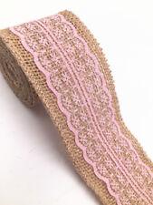 2m eter lace burlap ribbon natural width 6cm Vintage Wedding Party Deco pink