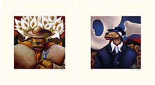 """Markus Pierson """"Art History Coyote Portraits of O'Keefe and Rivera"""" 2 Serigraphs"""