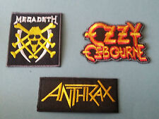 SET OF THREE MUSIC SEW/IRON ON PATCHES:-  MEGADETH OZZY ANTH