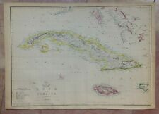 CUBA JAMAICA 1863 by EDWARD WELLER LARGE DETAILED ANTIQUE ENGRAVED MAP 19TH CENT