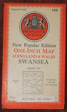 "ORDNANCE SURVEY NEW POPULAR EDITION 1"" MAP OF SWANSEA - 1947"