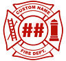 CUSTOM Fire Department Maltese Cross Vinyl Decal Window Sticker Car