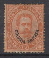 ITALY - ERITREA 1893 - Umberto I - 20 cent.  n.5 SUPER CENTERED cv 500$ unused