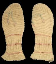 Vintage Childs Mittens Hand Knit Ivory Mittens 1930S Rosebud Applique Doll