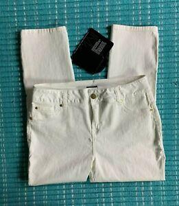 Women's IMAN NWT Slip Into Slim White Skinny Jeans Stretch Size 12 Short
