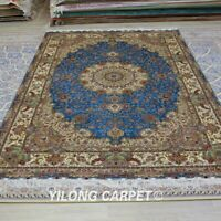 YILONG 6'x9 Blue All Over Classic Area Rug Silk Oriental Handmade Carpet HF057A