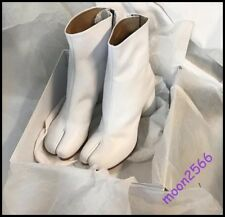 Ladies White Leather Chunky Heel Split Toe Knight Combat Combat Boots Shoes size